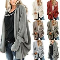 Women's Long Sleeve Cardigan Oversize Pockets Knitted Chunky Coat Plus Size Tops