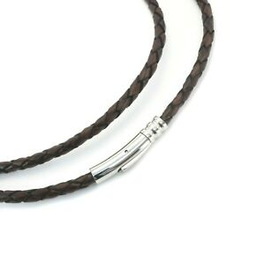 Mens Leather Necklace With Stainless Steel Clasp-Genuine Braided Antique Brown