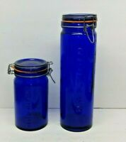 2 ITALIAN COBALT BLUE GLASS STORAGE KITCHEN CANISTERS JARS METAL CLASP 1-2 LB.