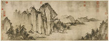 Chinese scroll painting Sumi Ink Sansui landscape Water mountain Red cliff