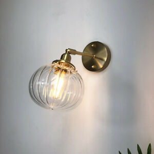 Gold Stained Glass Wall Fixtures Led Wall Sconce Light Bathroom Bedroom Lamp E27