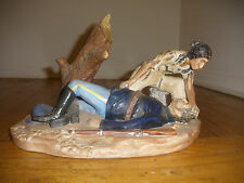 POTTERY SCULPTURE WESTERN ART NATIVE AMERICAN INDIAN WAR US SOLDIER LAST SCALP