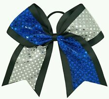 "8"" Blue, Black, Silver Sequins, Big Cheer Bows, Softball Cheerleading LA Dodgers"
