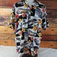 Kalaheo Mens Hawaiian Camp Shirt XL Floral Fighter Jets Bombers WWII Aloha XL