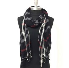 NEW Women Soft Classic Plaid Checked Crinkle Long Scarf SHAWL Stole WRAP Black