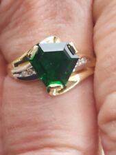 Emerald Hexagon Cut And Diamond Ring 10kt Solid Yellow Gold