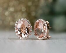 4Ct Oval Excellent Cut Morganite Wedding Stud Earrings 14K Rose Gold Finish