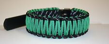 """Kelly Green & Black Reflective 14""""-18"""" Leather & Paracord Dog Collar"""