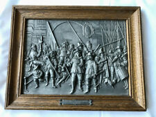Vintage antique pewter repousse of Rembrandt Nachtwache by WMH Zinn Swiss co