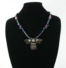 Mapuche Sterling Silver necklace with lapis lazuli stones
