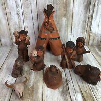 Vintage Native American Indian Provincial Mold Nativity Scene 9 Pieces Ceramic