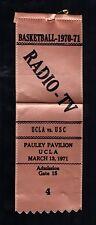 March 13, 1971 UCLA Vs USC Basketball Radio & TV Press Pass Pauley Pavillion