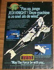 Seltene Werbung Clipper Kenner Star Wars ROTJ Speeder Bike #2 Niederlande 1984