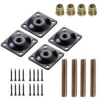 4 Pack Sofa Leg Mounting Plates Furniture Legs Attachment Repair Kit M8 Black