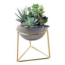 Modern Geometric Shaped Succulent Planter Flower Pot W/ Iron Pot Stand Garden