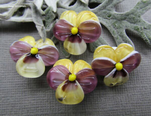 Lampwork glass pansy bead, yellow with purple artisan lampwork flower beads