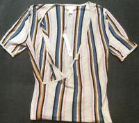 Caslon Womens Linen Blend Deep V-Neck Knit Top Blouse Multi Stripe Size Small