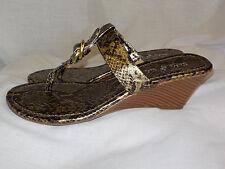 """Soho Sole Ladies Wedge Sandals Size 8M NWOT Animal Print 2.5"""" Heel Thongs Vegan"""