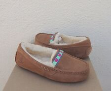 UGG ANSLEY EMBROIDERY SUEDE/ SHEEPSKIN MOCCASIN SLIPPERS, US 10/ EUR 41 ~NIB
