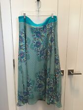 Jacklyn Smith Skirt With Lining Floral Print Maxi Color Blue Size XL