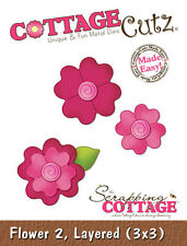 COTTAGE CUTZ FLOWER 2 LAYERED 3 X 3 CUTTING DIE SET FLOWERS FLORAL - NEW