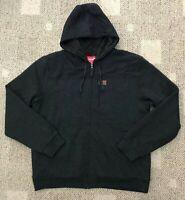 Coleman Mens Full Zip Fleece Lined Hoodie Sweatshirt Work Jacket Black Size XL