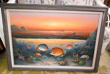 Charles Benolt Painting Signed Tropical Fish Oil Painting LARGE Framed 29x40
