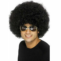 BLACK CURLY AFRO WIG 70S DISCO FANCY DRESS PARTY COSTUME CHARACTER FILM HAIR