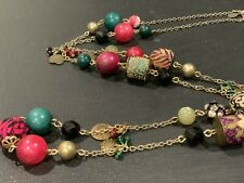 Vintage Long Fancy Brocade Resin & Metal Bead Designer Necklace Signed 96cm J140