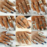Retro 12Pcs Silver Gold Boho Arrow Moon Hollow Flower Midi Finger Knuckle Rings