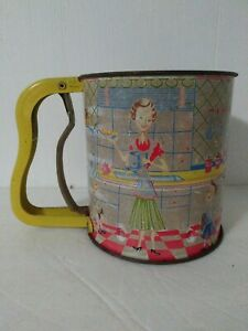 Vintage Androck Handi Sift Flour Sifter With Colorful Graphics