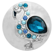Blue Rhinestone Pearl Ostrich Bird 18mm 20mm Snap Charm Button For Ginger Snaps