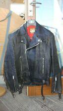 vintage MASCOT biker leather jacket motorcycle silver zips black sz 36-38 XS-S?