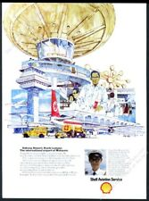 1972 Malaysian Airlines plane Juala Lumpur airport Shell Aviation Oil print ad