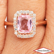 AIGS Diamond 2.03ct Pink Padparadscha Sapphire 18K Gold Halo Ring 5.9 Gr NR