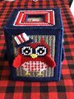 Handmade Needlepoint Plastic Canvas Tissue Box Cover - Patriotic Owl TBC