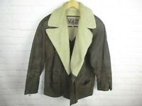 Winlit Men's Size M Brown Leather Sherpa Lined Collared Jacket Vintage