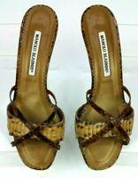 Manolo Blahnik Brown Snakeskin Leather Kitten Heel Slide Sandal Women US 9 EU 39
