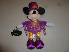 """DISNEY HALLOWEEN MICKEY MOUSE SPIDERWEB SPIDER 16"""" PLUSH PURPLE OUTFIT HAT TOY >"""