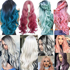 Women Ombre Grey Pink Long Curly Hair Wigs Natural Wavy Wig Anime Cosplay Party