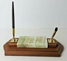 Vintage Shaeffer  Pen Holder Desk Caddy  Set Wood Marble 1 Pen  #4494