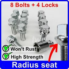 12 x ALLOY WHEEL BOLTS + LOCKS FOR SMART FORTWO COUPE CABRIO / BRABUS NUTS [Y2b]