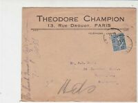 Paris Theodore Champion Stamps Dealer 1922 Stamps Cover Ref 31919
