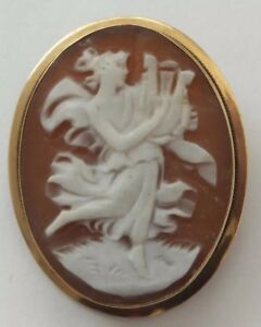 Vintage 18ct Gold Shell Cameo Brooch