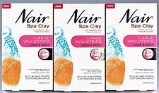 3 x Nair Spa Clay Large Wax Strips Pk20 For Legs & Body