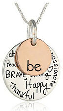 Silver Rose Gold Plated Be Happy Kind Brave Strong Free Necklace Christmas Gift