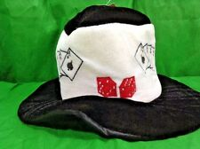 Poker Hat 4 Aces Plush Black-And-White W Red Dice Pimp Party Top Hat