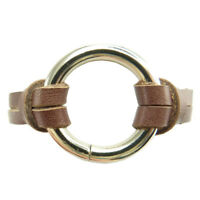 Bracelet homme femme taille grande 19 cm Cuir marron Anneau rond couleur argent