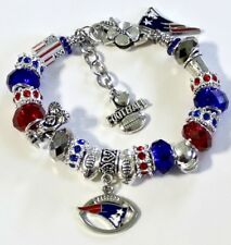 "NFL NEW ENGLAND PATRIOTS HANDMADE FOOTBALL CHARM BRACELET 8"" ADJUSTABLE."