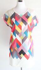 Evyleen Women's Size Large Multi-Color Geometric Shift Tunic Dress NWOT Rainbow